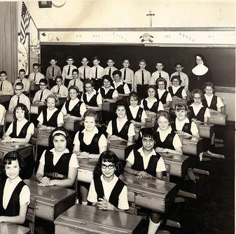 Teacher and classroom 1950s