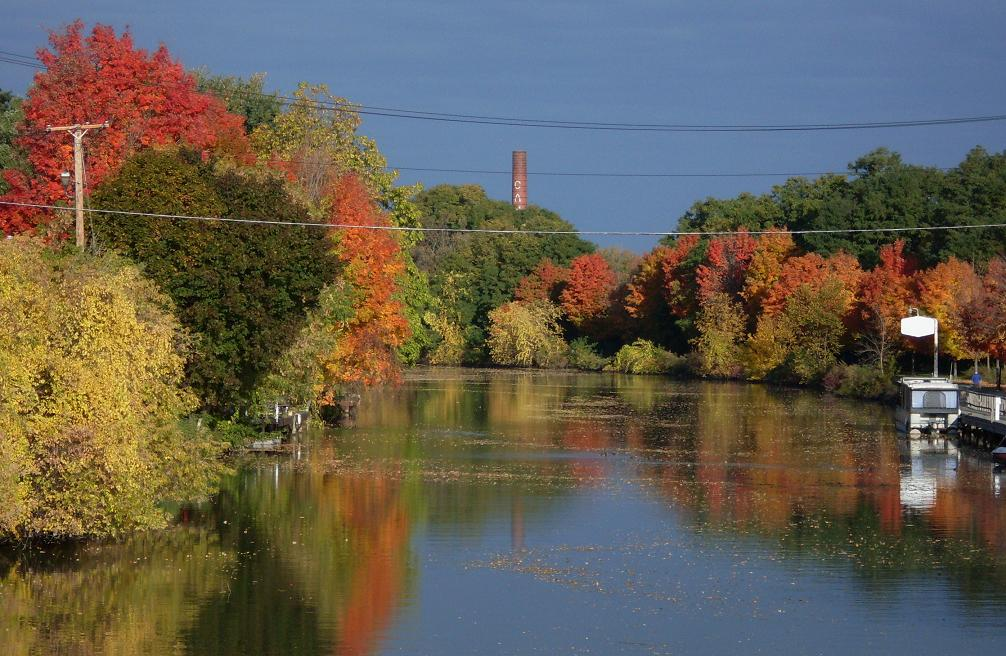 fall foliage on Erie Canal, Fairport